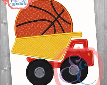 Basketball Truck Applique Design For Machine Embroidery INSTANT DOWNLOAD