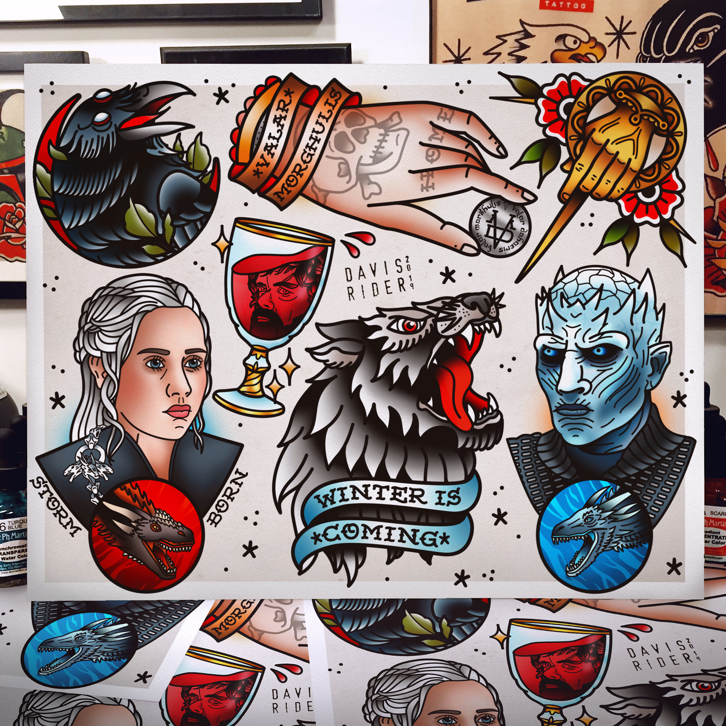 Game of Thrones Tattoo Flash Art Print | Etsy