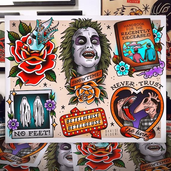 Beetlejuice Tattoo Flash Art Print Etsy