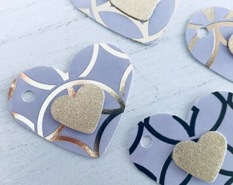 Lavender and Gold Glitter Geometric Paper Tags