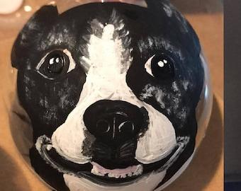 Custom painted pet portrait ornament