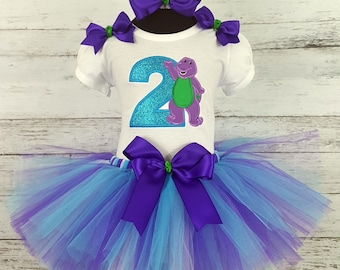 Barney inspired  tutu and shirt any number and name personalised shirthandmade barney birthday adorableFree shipping