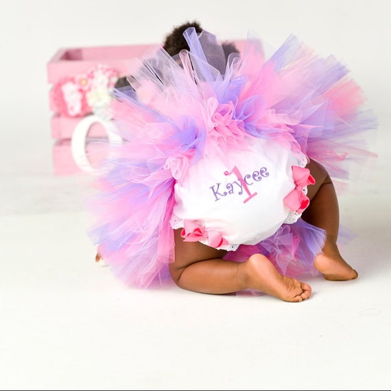 1st 2nd 3rd 4th Birthday Personalized Diaper Cover Bloomers with Bows 1 2 3 4 Match My Tutu