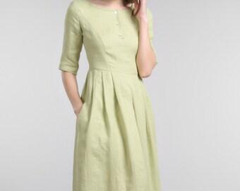 Green linen dress, full length dress, linen dress, maxi dress ,party dress, ankle length dress ,linen clothing, summer dress