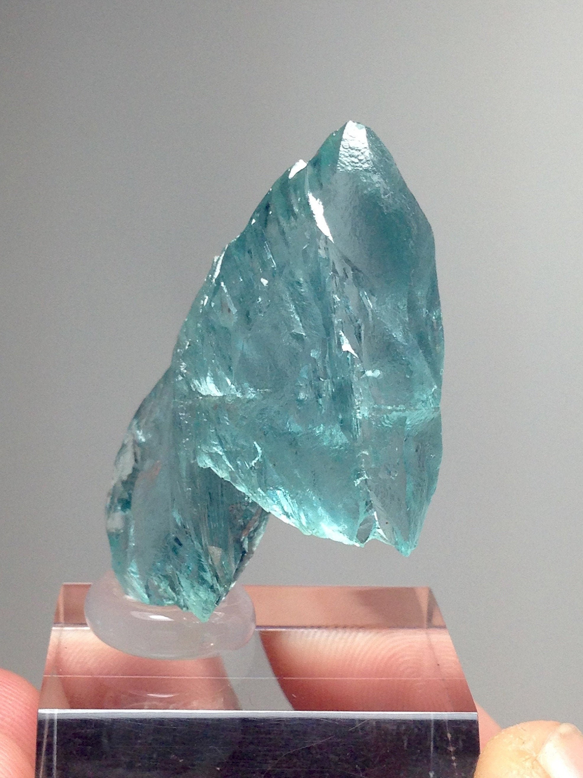 Aquamarine-Malawi 63.21 Ct Rare Etched Floater Crystal-Mostly Transparent with Some Natural Flaws-Rare!