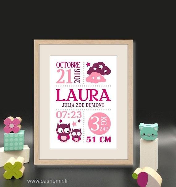 Personalisierte Geburt Tochter Geschenk Geburt Baby Kind Schönes Zimmer Dekoration Poster