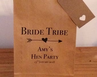Personalised Gift Bags/ Hen Gift Paper Bags with Ribbon. Bride tribe design. Wedding/Hen Party/Gifts FREE UK Delivery