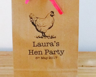 Personalised Gift Bags/ Hen Gift Paper Gift Bags with Ribbon. Wedding/Hen Party/Gifts FREE UK Delivery