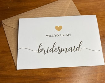 Will you be my bridesmaid Card & Envelope/ different roles available ( Envelope can be Personalised )