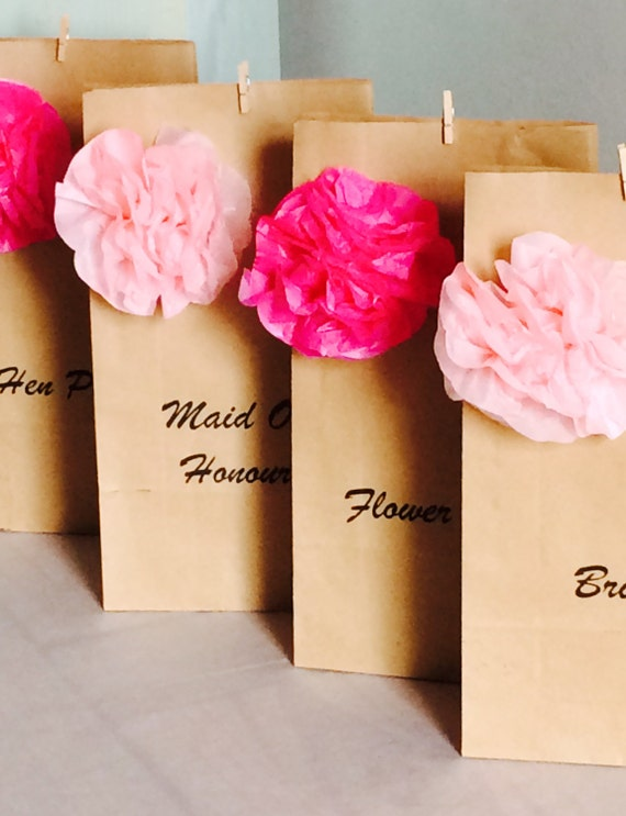 Personalised Vintage Brown Paper Favour Bags//Wedding//Christening//Hen//Gift//Party