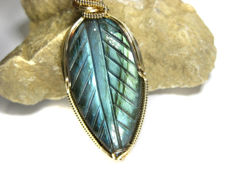 Gorgeous Hand-Carved Labradorite Pendant in 14k Gold Filled Wire--Amazing flash and carved pattern!