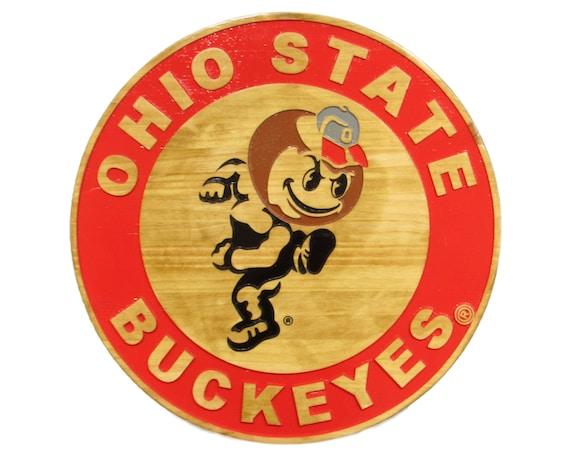 Bourbon Barrel Lid Whiskey Art The Ohio State University Mancave Approved The Buckeyes Bourbon Barrel Head Bourbon Bar Sign Go Bucks