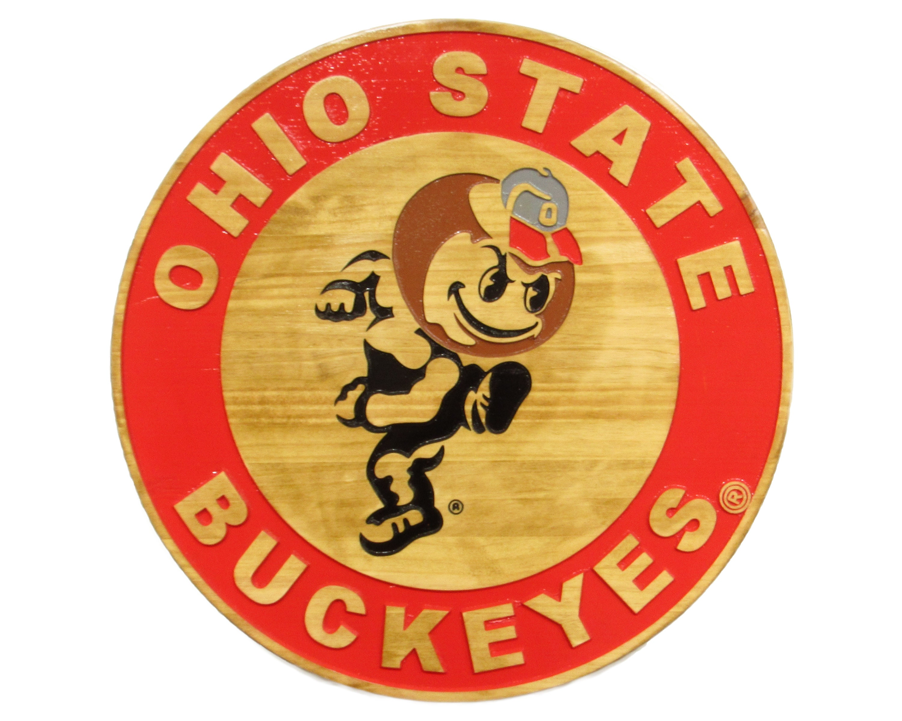 Ohio State Buckeye painted metal sign attached to Authentic Bourbon Barrel Head