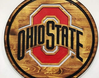 Ohio State Buckeyes Round Wood Barrel Head