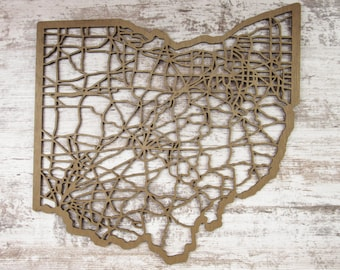 Ohio Road Map Wall Decor Laser Cut Wooden Map