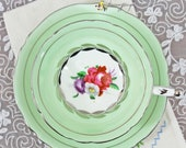 Vintage Paragon Double Warrant Light Green Silver Laurel English Bone China Teacup and Saucer, Gifts for Her Tea Party