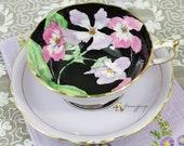 Vintage Paragon Violets Purple Black Background Hand Painted English Fine Bone China Teacup and Saucer, Double Warrant, Tea Party