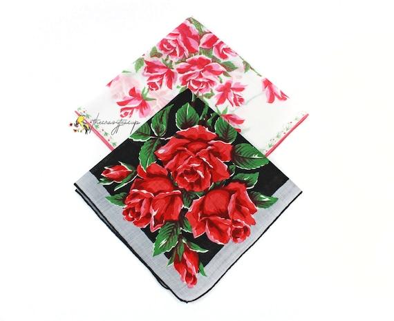 Vintage Lot of 2 Handkerchiefs Hankies Red Roses Black Background Cotton 60/'s