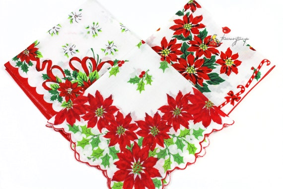 Bells Holly FREE SHIPPING Scalloped Edge Vintage Christmas Hankie Candy Canes