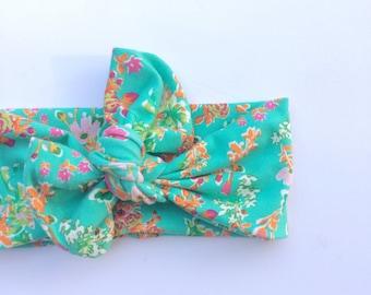Floral baby topknot headband topknot headband toddler headband adult topknot headband