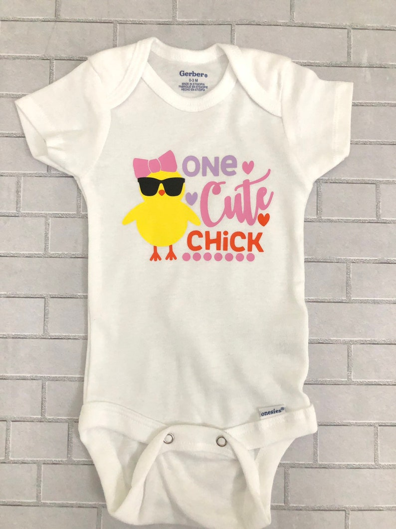 8ed3ac1186aa One Cute Chick onesie Easter Onesie baby girl 1st Easter | Etsy