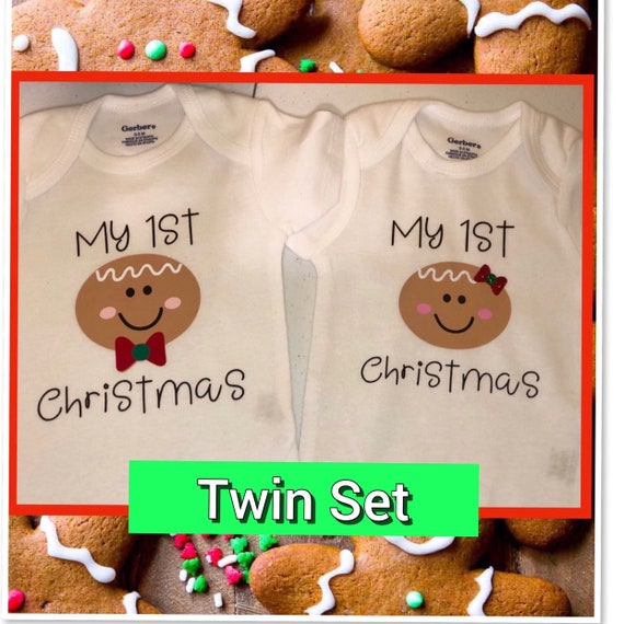75934d13b Twin 1st Christmas Our 1st Christmas Gingerbread Christmas | Etsy