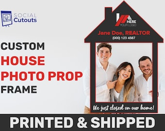 Real Estate Marketing Photo Booth Props Customized Realtor Selfie Frame Personalized House Frame Sign Printed Real Estate Advertising Sign