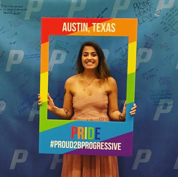 LGBTQ Pride Instagram Booth Frame Rainbow Photo Booth Backdrop Personalized Gay Trans Bi Pride Photo Booth Props Custom Pride Selfie Frame