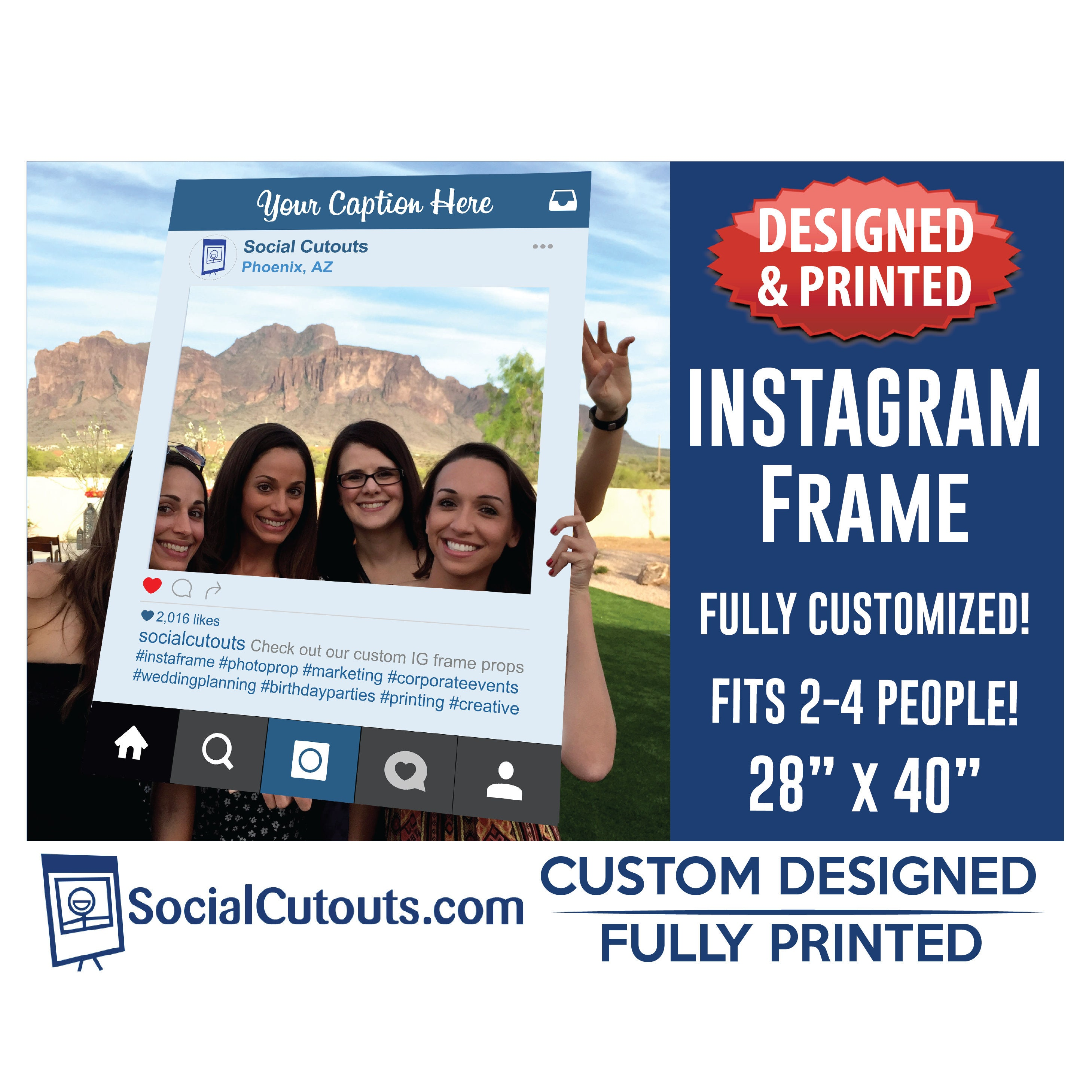 Instagram Frame Printed and Shipped to you. Fully Customized | Etsy