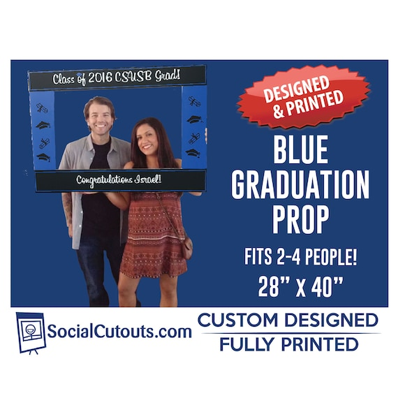 Graduation Frame Blue Photo Booth Prop Cutout Frame Fully Etsy