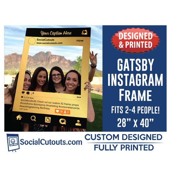 Great Gatsby Party Instagram Frame Photo Booth Prop Printed Etsy