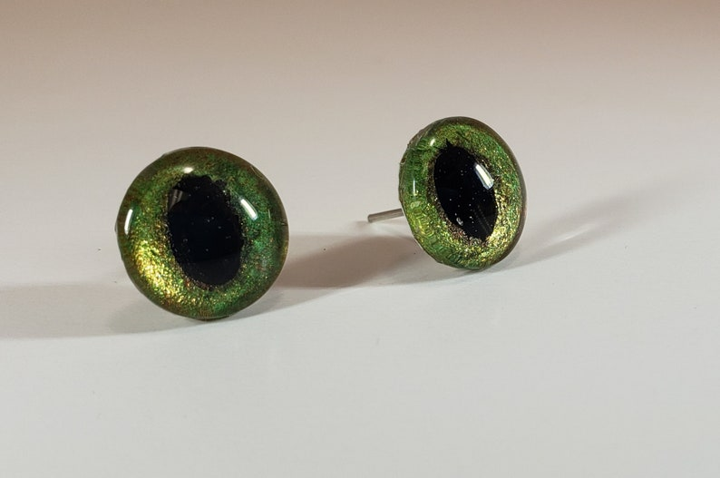 hand painted hand made Cat eyes 12mm green brown felting felt sculpture or stuffed animal Glass Animal Eyes