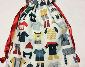 Drawstring project bag - warm winter woolies