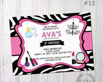 Half birthday invitation etsy half off glamour girl birthday invitation zebra invite girls glamour birthday pampered party design 13 filmwisefo