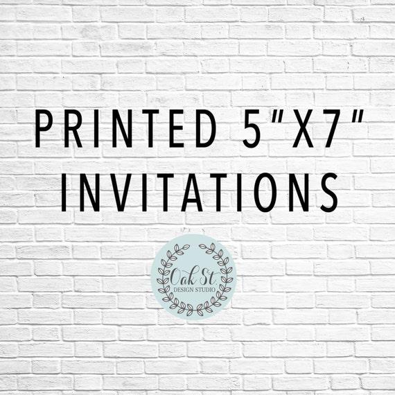 PRINTED INVITATIONS Printed 5x7 Flat Invitation Cardstock Birthday Add On