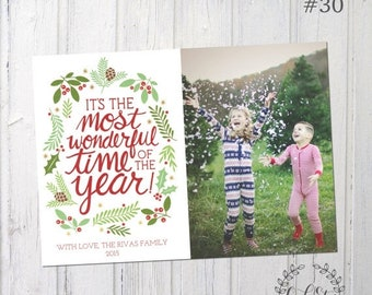 HALF OFF Most Wonderful Time of the Year Photo Christmas Card, Family Christmas Card, Full Photo Christmas Card, Design #29