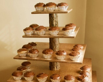 Rustic Cupcake Stand Square 5 Tier (Tower / Holder) 120 Cupcakes 250 Donuts for Wedding, Birthday, Shower, Anniversary, Party - Wood Wooden