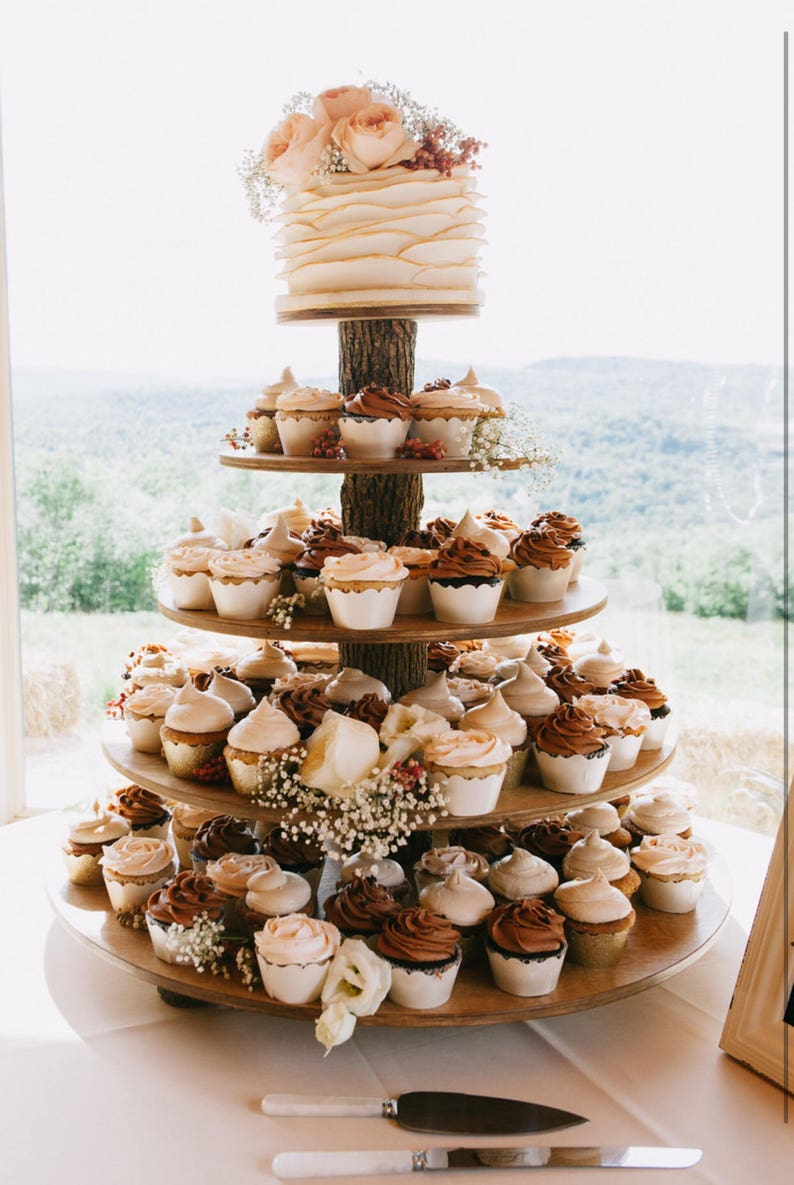 Rustic Cupcake Stand 5 Tier Tower Holder 75 Cupcakes 150 ...