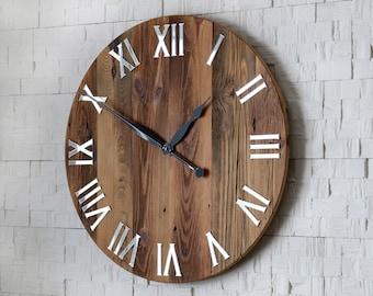Große Wanduhr, 23 Zoll, Rustikale Wanduhr, Naturholz, Holz, Holz Wanduhr,  Einzigartige Wanduhr, Spiegel Nummern