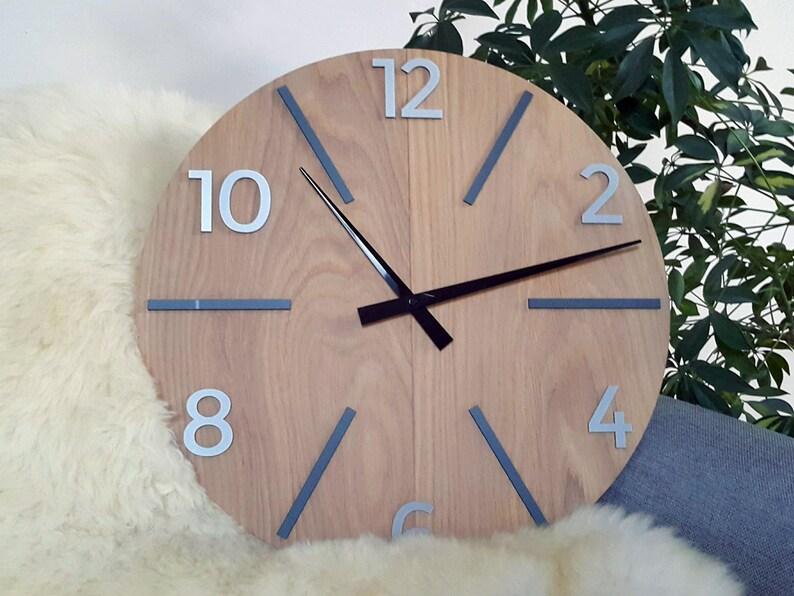 Große Eiche Wanduhr mit Stein zahlen Wanduhr moderne Uhr