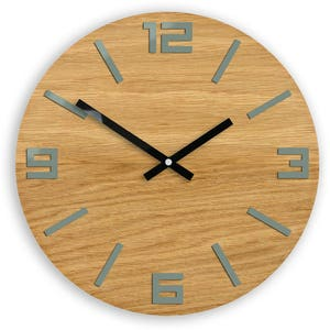 large wall clock wood clock wall decor unique wall clock oak black white