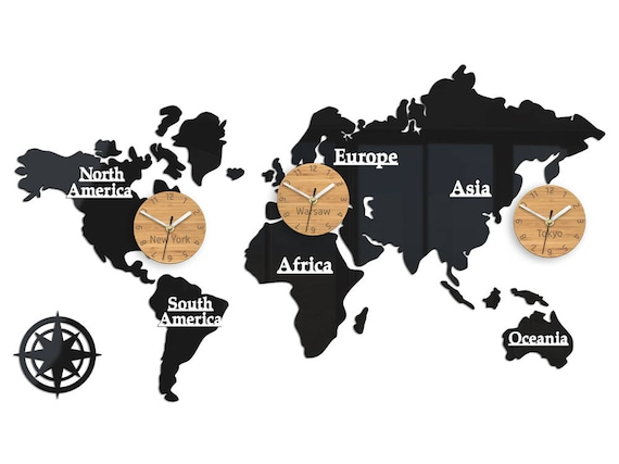 Large wall clock time zones world clock world map 100cm x gumiabroncs Gallery