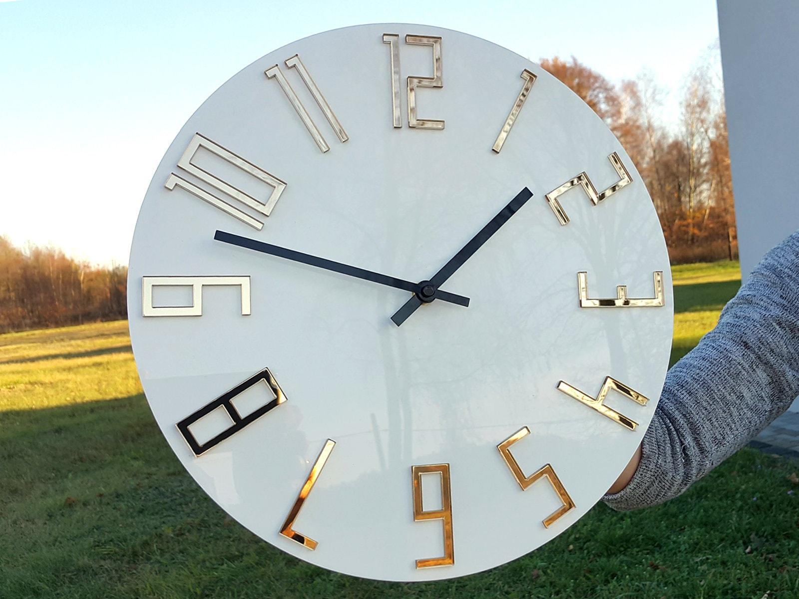 Large Wall Clock Mirror Gold Wall Clock Gift Wall Decor Modern Clock Modern Wall Clock Unique Wall Clocks Gift