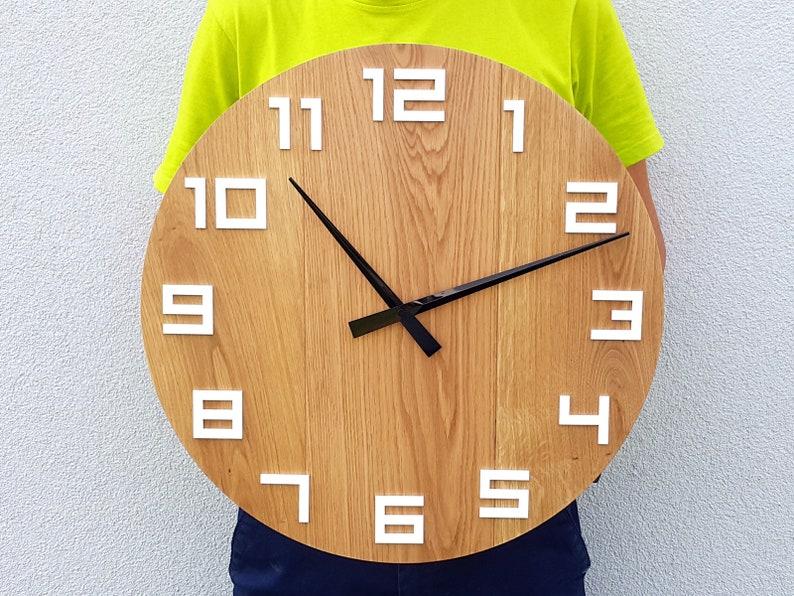 Große Wanduhr Eiche rustikal Wand Uhr natürliche Digit