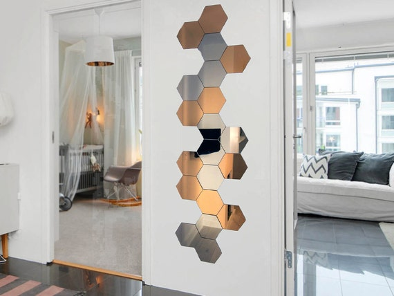 Hexagone Shape Mirror Wall Decal Wall Sticker 3pcs