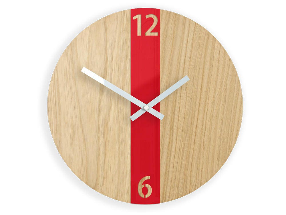 Large Wood Wall clock, OAK, 13,19inch, gift, wall decor, Unique wall ...