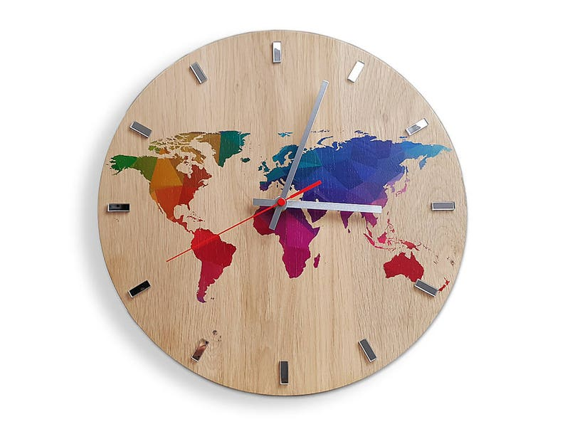 Large Wall Clock Oak 13 In World Map Wall Clock Etsy