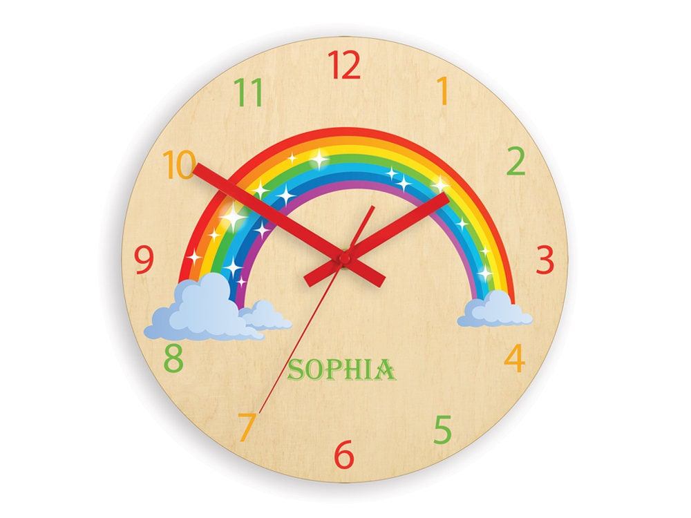 children wall clock - rainbow with personalizen name, wood clock