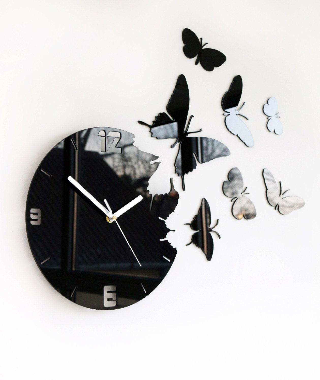 Wall Clock Butterfly Large Wall Clock Clock Modern Wall Clock Clocks Gift Unique Wall Clocks