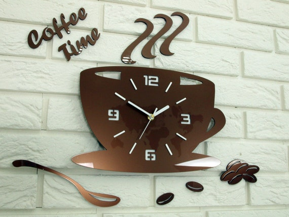 Orologio da cucina, cucina orologio, orologio da parete, tempo di Coffe  rame metallico, regalo, decorazione della parete, orologio da parete grande